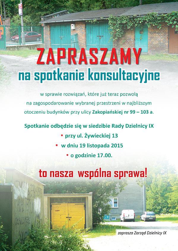 Po spotkaniu konsultacyjnym w sprawie zagospodarowania terenu przy ul. Zakopiańskiej 99-103a