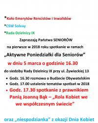 """Wkrótce kolejna edycja """"Aktywnych Poniedziałków dla Seniorów"""""""